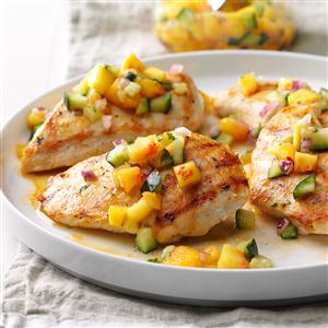Chicken with Peach and Cucumber Salsa